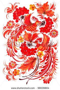 The Ukrainian Decorative List. Autumn Composition Birds Guelder-Roses Sitting On Branches Stock Photo 98039804 : Shutterstock