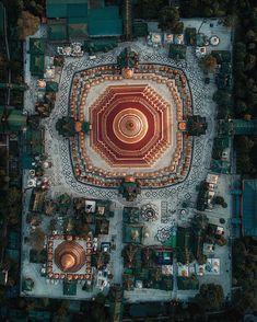 Drone Photography   Biggest and most sacred temple in Myanmar - Shwedagon Pagoda, Yangon - built 2500 years ago, covered in gold + 4531 diamonds   Credit: @karanikolov (instagram)   #myanmar #pentagone #yangon #goldplate #temple #pagoda #Phantom #dronesda