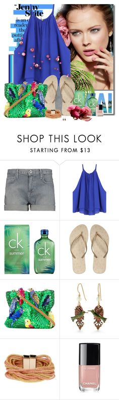 """""""Summer party 🎉"""" by pusja76 ❤ liked on Polyvore featuring Current/Elliott, Calvin Klein, Reef, Jamin Puech, Silver Forest, Nanni, Chanel and Lipstick Queen"""