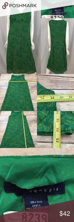 💋 Venezia 18/20 Green Paisley Print V-Neck Dress Measurements are in photos. Normal wash wear, no flaws. F2/54  I do not comment to my buyers after purchases, due to their privacy. If you would like any reassurance after your purchase that I did receive your order, please feel free to comment on the listing and I will promptly respond.   I ship everyday and I always package safely. Thank you for shopping my closet! Venezia Dresses Midi