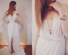 Zara Maxi Dress, Fossil Watch, Willow Den Rose Quartz Necklace, Payless Shoes Nude Heels