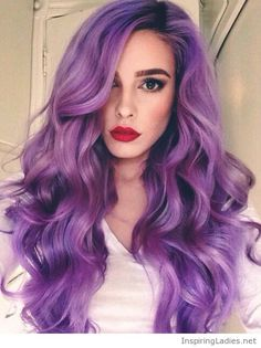 Purple curly hair and red lips | Inspiring Ladies