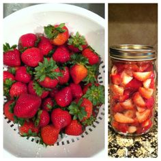 Strawberries in mason jar.  Put fresh washed strawberries in a mason jar and it will keep them fresh up to one and half to two weeks!