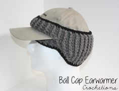 Handmade crochet headband for ball cap wearers! Great for winter weather to keep those ears warm!