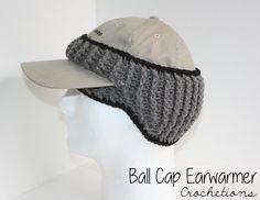 Handmade crochet headband for ball cap wearers! Great for winter weather to keep those ears warm!