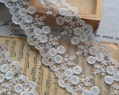 Cotton Lace Trim Ecru Embroidered Lace Venice Floral by LaceFun, $5.80