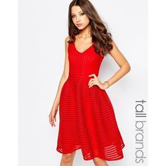 Studio 75 Tall Skater Dress ($71) ❤ liked on Polyvore featuring dresses, red, red dress, zipper dress, v neck skater dress, skater dress and red v neck dress