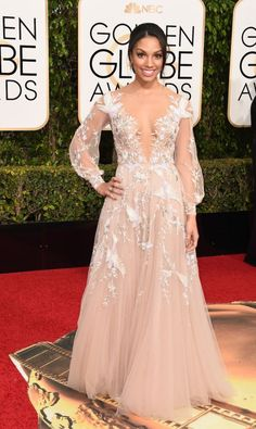 Miss Golden Globes 2016, Corinne Fox, rocked a beautiful and romantic dress by Paolo Sebastian. We thought she looked like a modern-day Disney Princess!