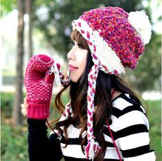 winer warm fleece knit hat for girls bobble hat with ear flap
