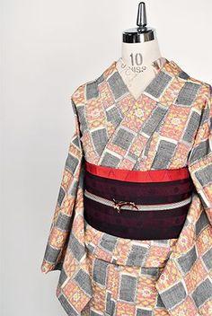 カードのような西洋市松ロマンチックな正絹紬単着物 - アンティーク着物・リサイクル着物のオンラインショップ 姉妹屋
