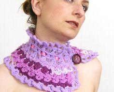 crochet capelet cowl neck warmer scarflette purple by piabarile,
