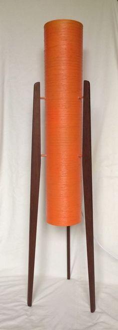 Super Vintage Retro 1960 S 70 S Orange Spun Fibreglass Rocket Tripod Floor Lamp Lamps Tripod