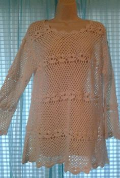 Large  Vintage Hand  Crochet med  Top or Mini dress OS #NewYorkStyle