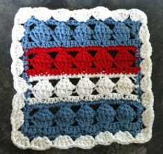 Americana Crochet Dishcloth ~ free pattern (Lee Ann's note:.  This would work better as an afghan square)