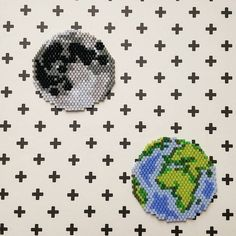 Beaded Earth and Moon brick stitch charms peyote