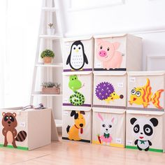 Cartoon Animals Kid's Toys Storage Box - Toy Tips Fabric Storage Boxes, Toy Storage Boxes, Storage Baskets, Smart Storage, Kids Clothes Storage, Cartoon Toys, Small Space Storage, Fabric Toys, Trendy Kids