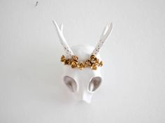 Wall decor ceramic abstract deer skull in matte white and