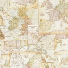 Bavlněná látka Mapy De luxe, digitální tisk