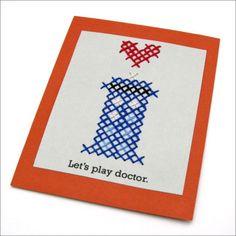 Doctor Who Tardis Cross Stitch Card for Valentine's Day. CRAFTY NERDS UNITE.