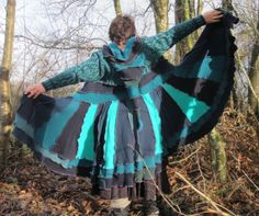 """Upcycled Sweatercoat. Liripipe pixie hood. Recycled Wool Knitwear in Teal, Navy & Turquoise. Large size 38-40"""" bust OOAK Handmade in UK."""