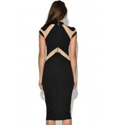 Nude Illusion Insert High Neck Midi Dress