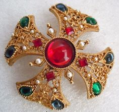 """Gripoix style glass stones. Jewel tone oval glass stones in paisley shaped frames. Bead tip detail. Love the faceted square red rhinestones. Measures 2 1/4"""" square. Undisturbed patina. 