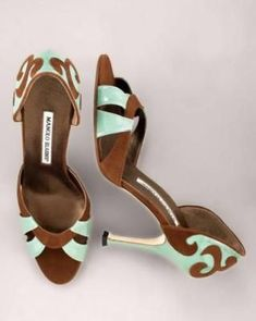 brown and turquoise Manolo Blahnik pumps