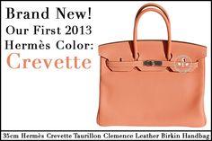 Créateurs de Luxe has our first Brand New Hermès 2013 color - Crevette!   35cm Hermès Crevette Taurillon Clemence Leather Birkin Handbag with White Stitching and Palladium Hardware - $22,750  www.createursdeluxe.com
