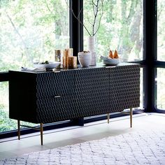 Audrey Dining Buffet, Charcoal at West Elm - Buffets & Sideboards - Living Room Storage Interior Design Living Room Warm, Living Room Designs, Living Room Decor, Modern Buffet Table, Dining Room Buffet, Buffet Console, Dining Rooms, Design Furniture, Home Furniture
