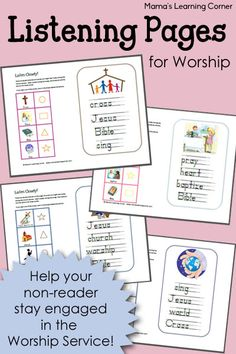 Listening Pages for NonReaders is part of children Church Sermons - Help your children stay engaged in the Worship Service with these Listening Pages! From the Scripture to the songs to the sermon! Bible Study For Kids, Bible Lessons For Kids, Kids Bible, Preschool Bible, Church Activities, Bible Activities, Bible Games, Summer Activities, Toddler Activities