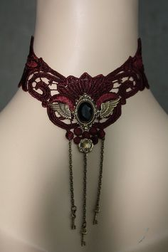 Gothic Choker Dark Red Lace with Brass ornaments by poppenkraal, $39.90