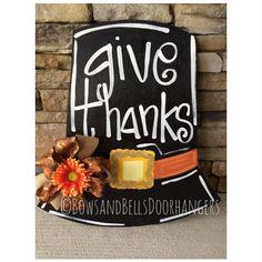 Thanksgiving door hanger fall wreath fall by BowsandBellsHangers