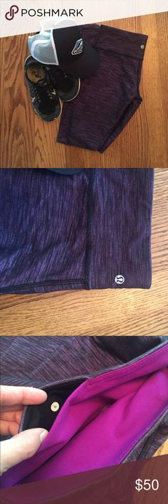 Lululemon Leggings Purple and black ankle length leggings. These are in great condition  with no rips or stains. lululemon athletica Pants Leggings