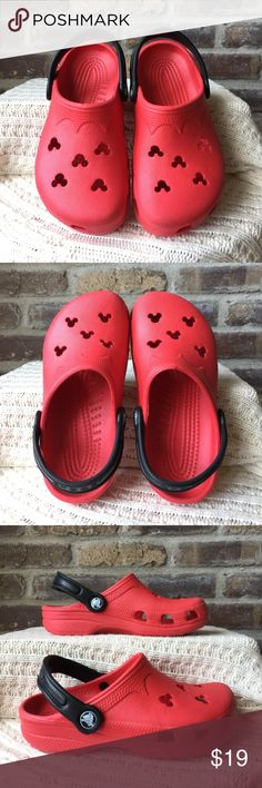 Crocs Disney Boys size 2 girls size 4 Red Mickey Mouse Disney Crocs. They have been worn CROCS Shoes Sandals & Flip Flops