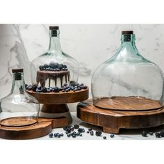etúHOME's Demijohn Cloche is a large glass cloche that attracts attention on any table. It servers perfectly as a glass cheese dome or food cloche. Cutting Wine Bottles, Bottle Cutting, Bottles And Jars, Melted Wine Bottles, Bottle Candles, Glass Jug, Cut Glass, Clear Glass, Glass Bottle Crafts