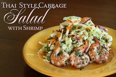Thai Style Cabbage Salad with Grilled Shrimp
