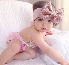 Rose Gold iSparkle Bow on Blush Headband