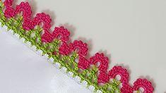 Iki Sıralı Kolay Tığ Oyası Yapımı Crochet Edging Patterns, Crochet Lace Edging, Crochet Borders, Crochet Flowers, Saree Tassels Designs, Saree Kuchu Designs, Maggam Work Designs, Crochet Videos, Hand Embroidery Designs