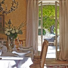Large French window in dining room