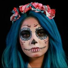 prettiest day of the dead makeup ive ever seen Halloween Makeup Sugar Skull, Sugar Skull Makeup, Up Halloween, Halloween Costumes, Sugar Skulls, Dead Makeup, Fx Makeup, Makeup Ideas, Maquillage Sugar Skull