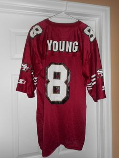Men's Vintage Red & White SAN FRANCISCO 49ers #8 Young NFL Jersey, Size 48/L #STARTERNFLQUARTERBACKCLUB #SanFrancisco49ers