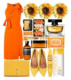 """Orange & Yellow"" by estefanifashion ❤ liked on Polyvore featuring Versace, Moda In Pelle, Clinique, Aesop, Dolce&Gabbana, Tory Burch, shu uemura, Ole Henriksen and NARS Cosmetics"
