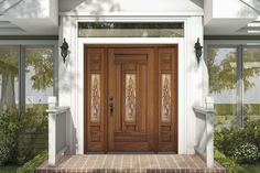 db-a302-ft-2sl Aurora fiberglass doors are made to look and feel like solid wood, without any of the maintenance. Craftsman style door shown is displayed with two full glass sidelights, and decorative glass.