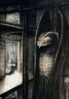Hans Rüdi Giger: The Tourist XI Hanging Alien with wings with background