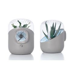 naturally purifies air by drawing it in with a whisper quiet fan to propel it through the leaves and root system of a plant, then out through the water and soil filtration and back into the room.