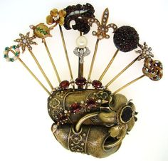 BLACK STAR  FROST VICTORIAN c.1900s STICK-PIN HOLDER PIN BROOCH -One-of-a-Kind!