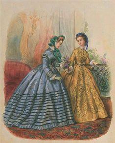 Civil War Fashion, 40s Fashion, Fashion History, Fashion Prints, Girl Fashion, Vintage Fashion, Fashion Illustration Vintage, Fashion Illustrations, Vintage Gowns