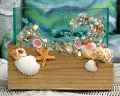 Beach Decor of Seashell Art, Plant Container, Coastal Glass Vase, Flower Vase Shell Art, Office Pencil Holder with Seashells,Shell Vase by SeaSideCreations1 on Etsy