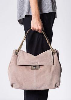 MARC O'POLO, Damen, Schuhe & Accessoires, Taschen, Hobo Bag, aus Rind-Veloursleder