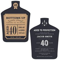 Dashingly Aged to Perfection - 40th Milestone Birthday - Shaped Birthday Party Invitations | BigDotOfHappiness.com
